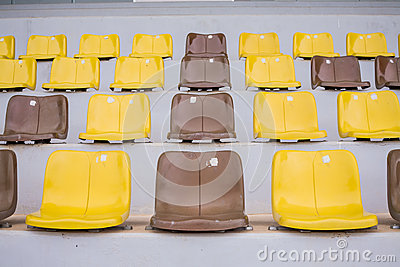 Plenty of yellow plastic seats