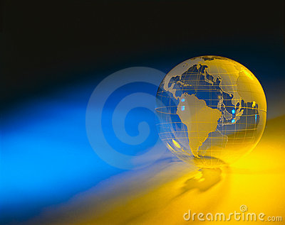 Plexiglas globe with blue and yellow background