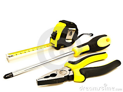 Pliers, screwdriver and meter