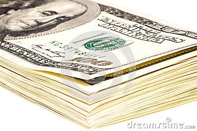 Plik 100 dolarowych rachunków