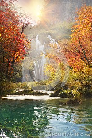 Free Plitvice Waterfalls In The Fall Stock Photography - 130806442