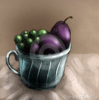 Plombs et raisins dans une cuvette