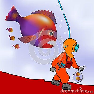 Plongeur sur le vagabondage