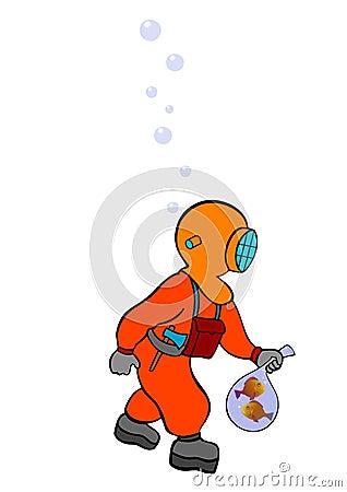 Plongeur sur le vagabondage - vecteur