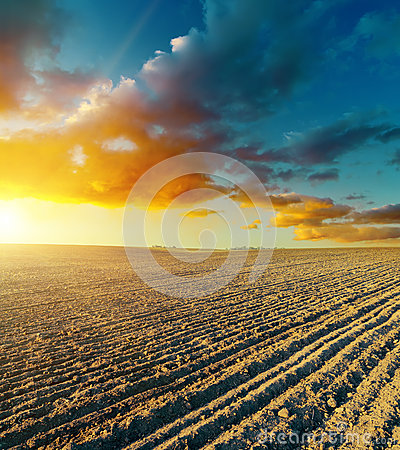 Free Ploughed Field And Sunset Stock Images - 34501944