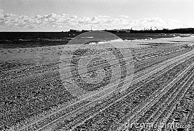 Plowed beach.