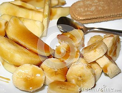Plátano y Apple con el postre de la miel