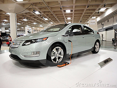 Plug-in car the Chevy Volt on display Editorial Stock Image