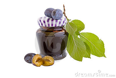 Plum jam with clipping path