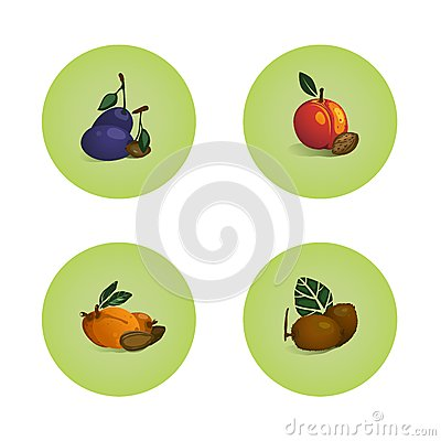 Plum Peach Apricot Kiwi Fruits Icons Set