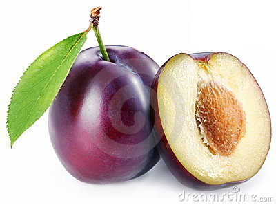 Plum with a slice and leaf