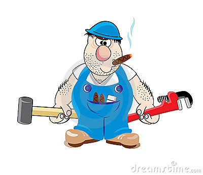 Plumber in blue uniform