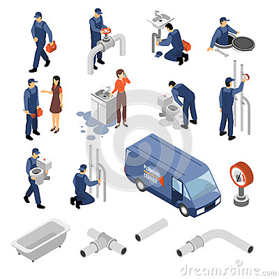 Free Plumber Isometric Icons Set Stock Photo - 88555520