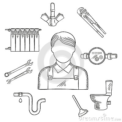 Plumber Man And Sanitary Engineering Stock Vector Image