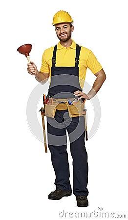 Plumber ready for work