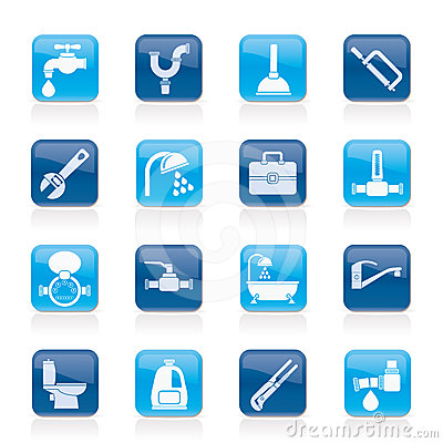 Free Plumbing Objects And Tools Icons Stock Photo - 24555090