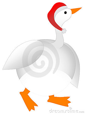Plump Cartoon Christmas Goose wearing Santa Hat
