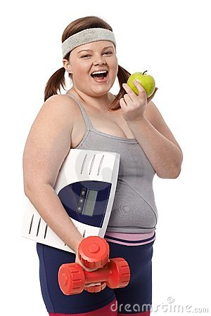 Plump woman dieting