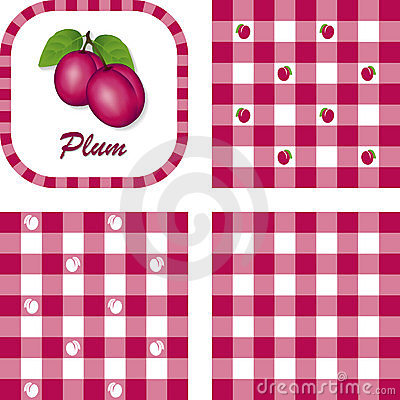 Plums & Gingham Seamless Patterns