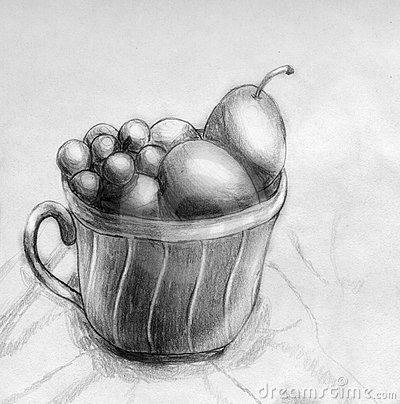 Plums and grapes in a cup