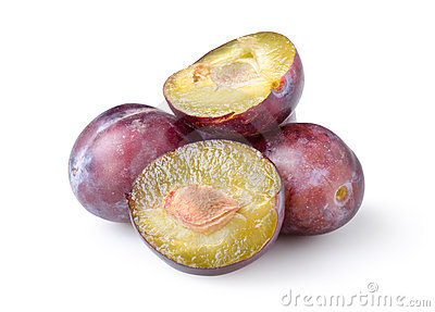 Plums isolated