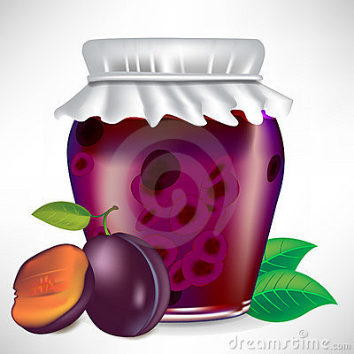 Plums jar of jam