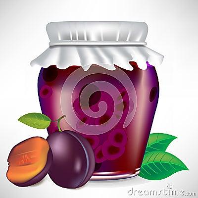 Plums jar of jam
