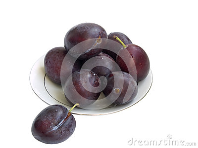 The plums on a plate