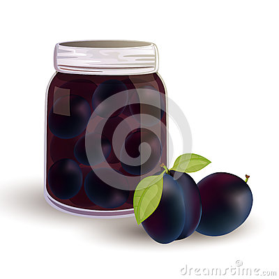 plums and plums in a jar