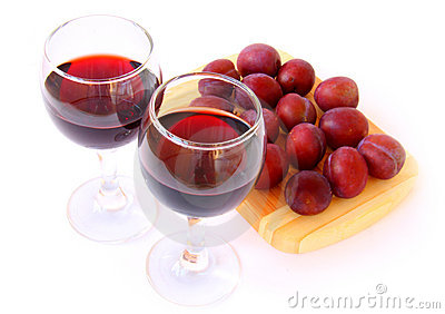 Plums and wine
