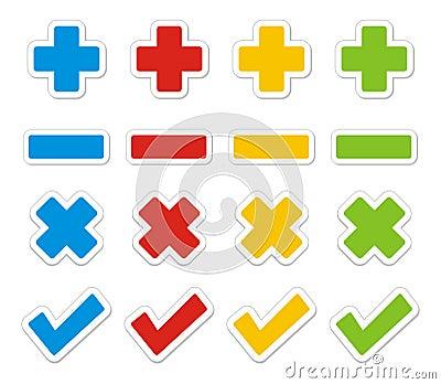 Plus, minus, check, cross sticker sets