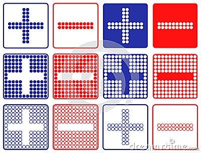 Plus Minus Symbols Patchwork of Color Dots.