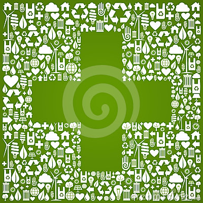 Plus sign shape over eco icons background