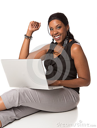 Plus Size Businesswoman Sitting  on White