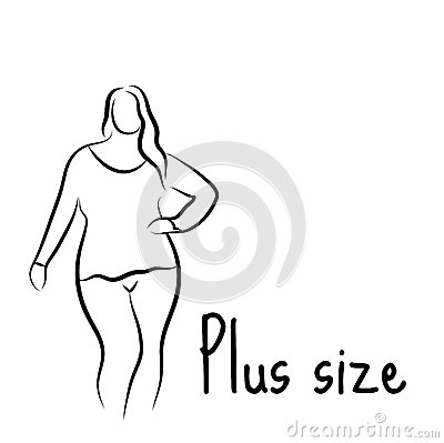 Free Plus Size Model Woman Sketch. Hand Drawing Style. Fashion Logo With Overweight. Curvy Body Icon Design. Vector Illustration Royalty Free Stock Image - 74141286