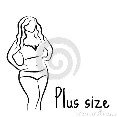 Free Plus Size Model Woman Sketch. Hand Drawing Style. Fashion Logo With Overweight. Curvy Body Icon Design. Vector Illustration Stock Photo - 74141340