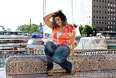 Plus size woman sitting