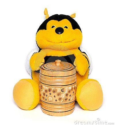 The plush bee with a honey keg