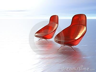 Plush red chairs on sea