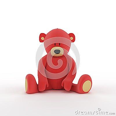 Plush red teddy bear