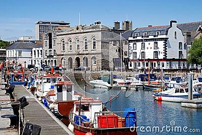 Plymouth, Inglaterra: Casa feita sob encomenda Quay Foto de Stock Editorial