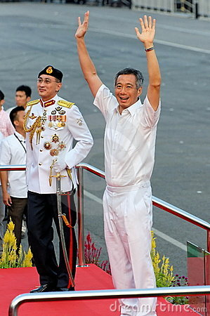 PM Lee waving to audience during NDP 2009 Editorial Photography