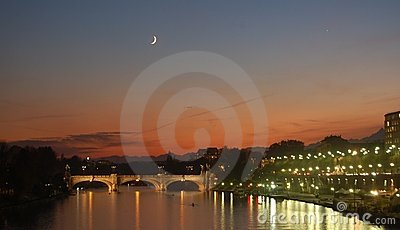 Po river at dusk in Turin