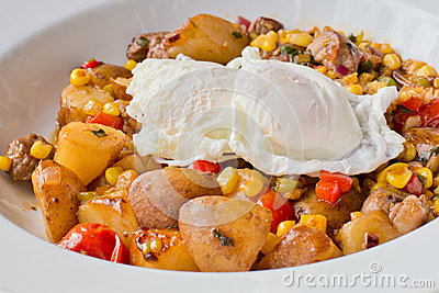 Poached Eggs, Home Fries Breakfast
