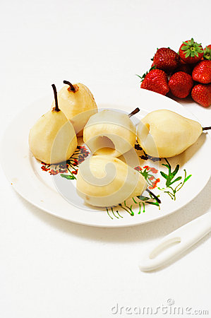 Poached Pears and Strawberries