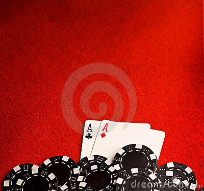 Free Pocket Aces On Red Felt Stock Images - 12003734