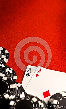 Free Pocket Aces On Red Felt Stock Photo - 12003750