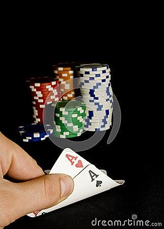 Pocket aces pair for holdem poker