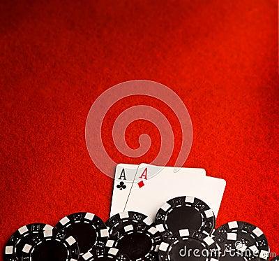 Pocket Aces on Red Felt
