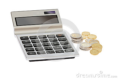 Pocket calculator and euro coins